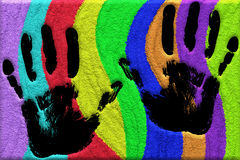 Hand Prints on Sand Colors Royalty Free Stock Image