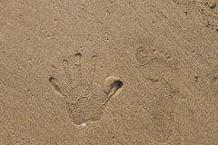 hand prints on the sand Royalty Free Stock Images