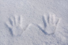 Hand Prints in Snow Stock Image