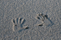 Hand prints in snow Stock Photography