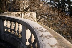 Hand prints in the snow. In Paris, terrace of the basilica Sacre-Choeur royalty free stock photography