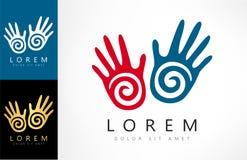 Hand prints vector logo. Logo design vector illustration Stock Photography