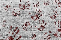 Hand prints on wall background. Red hands print on wall background royalty free stock photos