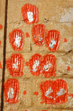 Hand prints of women who committed sati in Jodhpur,India Royalty Free Stock Photography