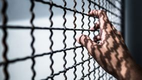 Hand of prisoner holding rustic metal fence with pattern shadow, criminal locked in jail Royalty Free Stock Photos