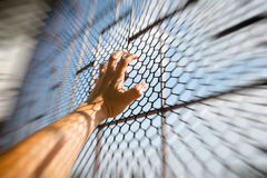 Hand of prisoner in jail Royalty Free Stock Photography