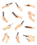 Hand with professional hairdressing Stock Images