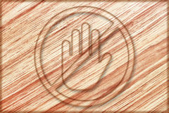 hand prohibition sign on wooden board Royalty Free Stock Image