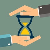 Hand protect hourglass. Time management. Controlling time. Vecto Stock Images