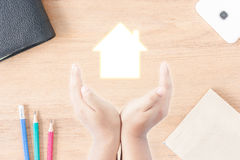 Hand protect house icon Royalty Free Stock Image