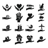 Hand protect icon set, simple style Stock Photos