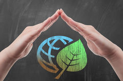 Hand protecting earth globe with green leaf draw on blackboard Stock Photo