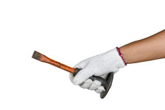 A hand with protection glove holding chisel. On white background stock photography