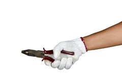A hand with protection glove holding pliers Royalty Free Stock Images