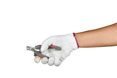 A hand with protection glove holding pliers Royalty Free Stock Photos