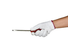 A hand with protection glove holding red screw diver Stock Photos