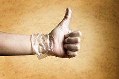 Hand with protective glove Royalty Free Stock Photo