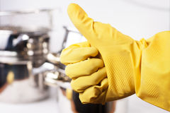 Hand in protective glove Royalty Free Stock Photo