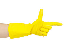 Hand with protective glove pointing with a finger Royalty Free Stock Photography