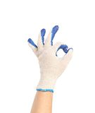 Hand in protective glove shows sign ok. Royalty Free Stock Images