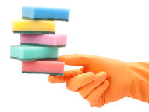 Hand in protective glove with washing sponge Royalty Free Stock Images
