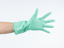 Hand with protective rubber glove Royalty Free Stock Image