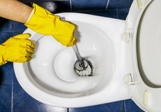 Hand in protective yellow gloves wash toilet in the toilet Royalty Free Stock Image