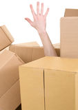 Hand protruding from pile box. Male hand protruding from pile carton box stock photography