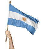 Hand proudly waving the national flag of Argentina Stock Images