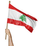Hand proudly waving the national flag of Lebanon. Isolated on a white background Stock Photo