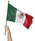 Hand proudly waving the national flag of Mexico Stock Photos