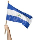 Hand proudly waving the national flag of Nicaragua. Isolated on a white background Royalty Free Stock Image