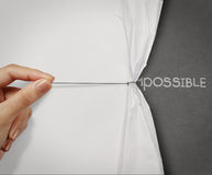 Hand pull wrinkled paper show stock photo