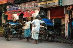 Hand pulled rickshaw Stock Image