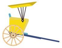 Hand pulled rickshaw isolated on white background stock illustration