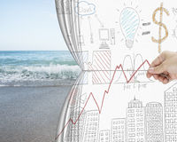 Hand pulling business chart doodles curtain discovered natural s Royalty Free Stock Images