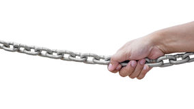 Hand pulling chain Stock Photo