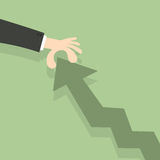 Hand pulling graph arrow upwards. Growth, improvement, developme. Nt and success concept. Flat design Stock Images