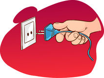 Hand pulling the plug. A vector illustration of hand pulling the plug Stock Photo
