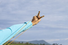 Hand pulling sling shot Royalty Free Stock Images