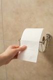 Hand pulling toilet paper roll in holder Royalty Free Stock Photography