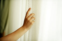 Hand pulling a window curtain Stock Photo