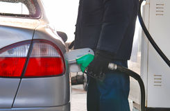 Hand Pumping Gas Fuel Royalty Free Stock Photos