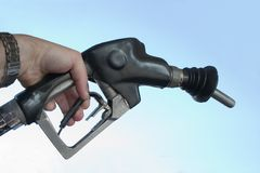 Hand Pumping Gas Fuel Stock Photo