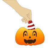 Hand with pumpkin Royalty Free Stock Photo