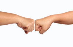 Hand punch together. Closeup image show hand punch together on white background Royalty Free Stock Photos