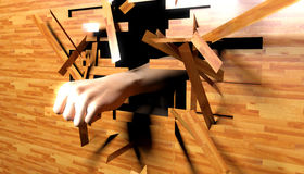 Hand punching through wood Stock Images