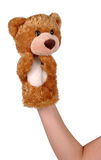 Hand puppet of bear. Hand puppet of brown bear isolated on white Royalty Free Stock Images