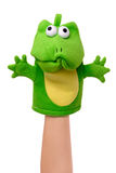 Hand puppet - sad. Hand pappet of frog isolated on white, sad emotion Stock Images