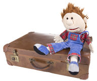 Hand puppet with suitcase Stock Photography